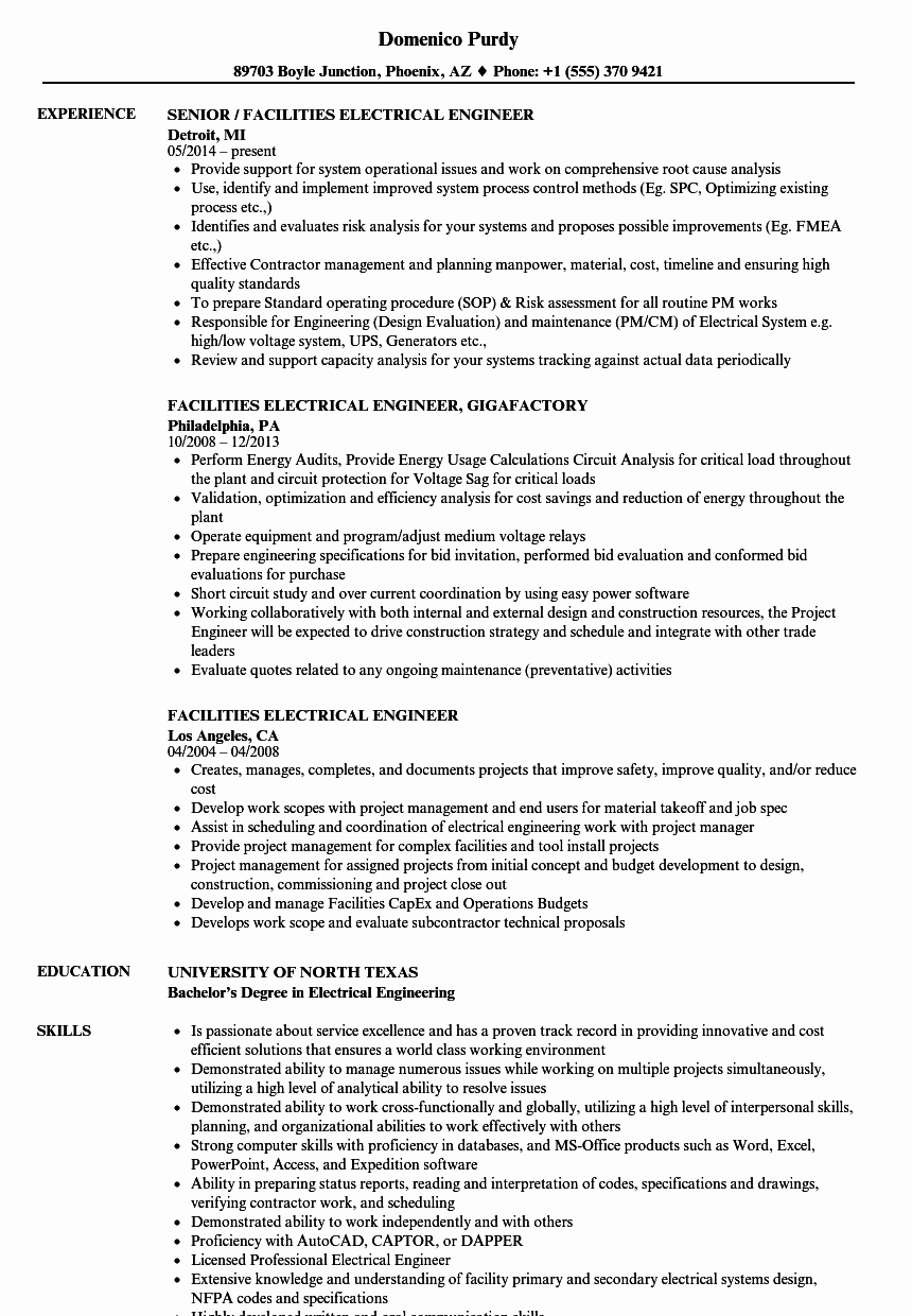 Electrical Engineer Resume Sample Luxury Facilities Electrical Engineer Resume Samples