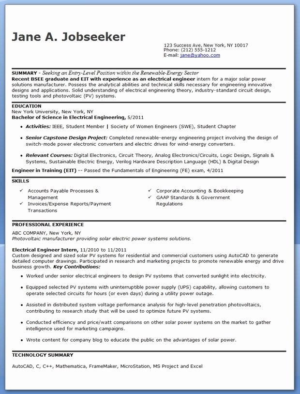 Electrical Engineer Resume Sample New Electrical Engineer Resume Sample Pdf Entry Level