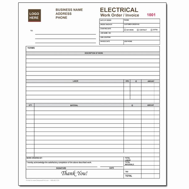 Electrical House Wiring Estimate Pdf Beautiful Electrical Contractor forms Custom Carbonless orders