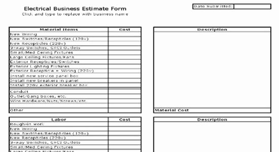 Electrical House Wiring Estimate Pdf Fresh Electrical Estimate Sheet Free Electrical Estimate