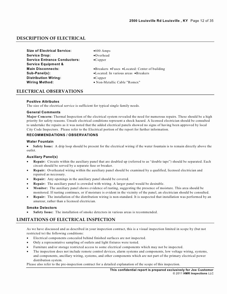 Electrical Inspection Report Template Lovely Industrial Inspection Sample Report