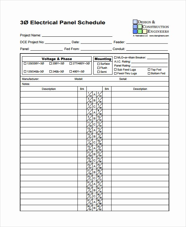 Electrical Panel Circuit Directory Template Luxury Electric Panel Schedule Template