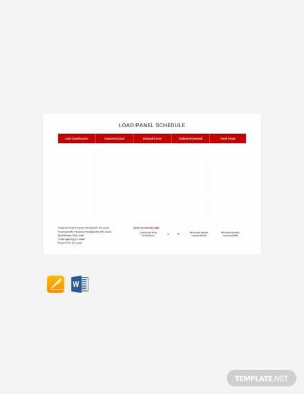 Electrical Panel Schedule Excel Fresh Free Electrical Panel Schedule Template Download 173 Schedules In Word Excel Apple Pages