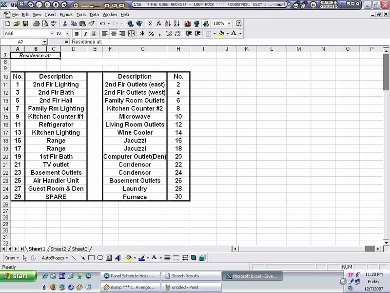 Electrical Panel Schedule Excel Fresh Panel Schedule Help