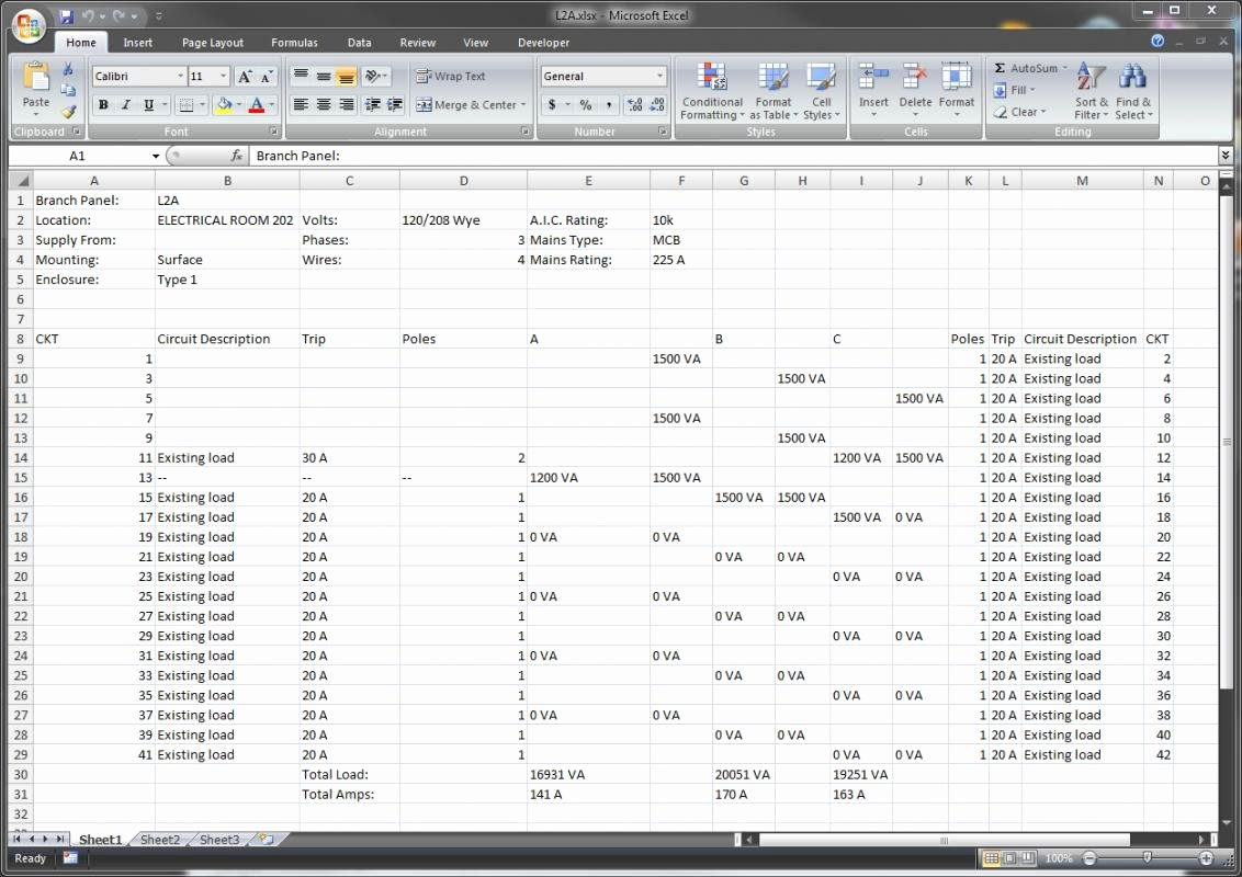 Electrical Panel Schedule Excel Template Awesome Electrical Panel Schedule Template