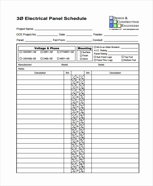 Electrical Panel Schedule Excel Template Elegant Sample Panel Schedule Template 7 Free Documents Download In Pdf
