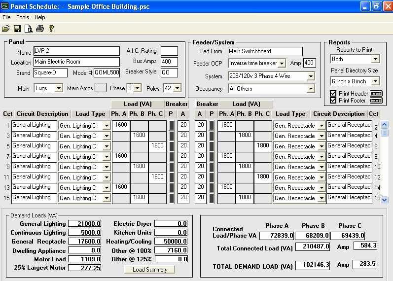Electrical Panel Schedule Excel Template Fresh Download Electrical Panel Schedule Template software Loadcalc 2008 Panel Schedule Trial