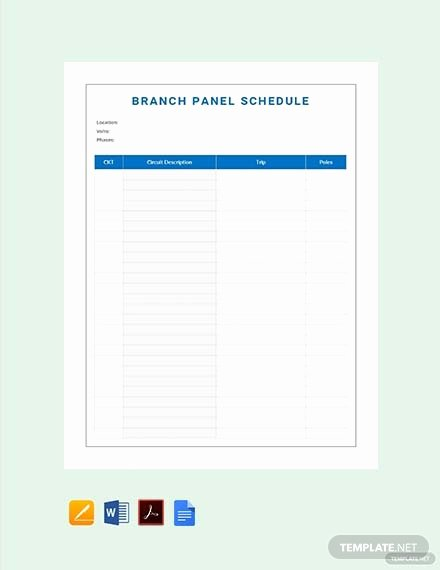 Electrical Panel Schedule Excel Template Lovely Free Electrical Panel Schedule Template Download 173 Schedules In Word Excel Apple Pages