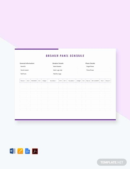 Electrical Panel Schedule Excel Template Luxury Free Electrical Panel Schedule Template Download 173 Schedules In Word Excel Apple Pages