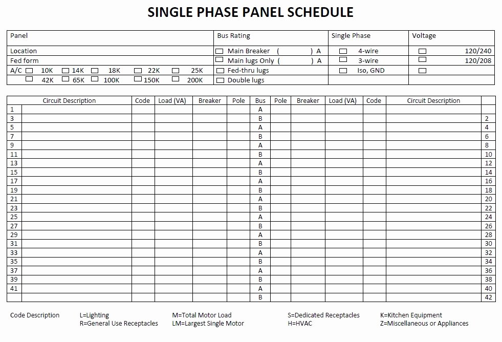Electrical Panel Schedule Template Best Of 5 Free Panel Schedule Templates In Ms Word and Ms Excel