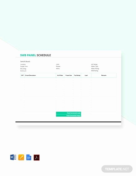 Electrical Panel Schedule Template Elegant Free Electrical Panel Schedule Template Download 173 Schedules In Word Excel Apple Pages