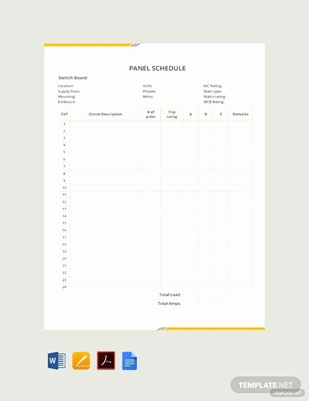 Electrical Panel Schedule Template Excel New Free Electrical Panel Schedule Template Download 173 Schedules In Word Excel Apple Pages