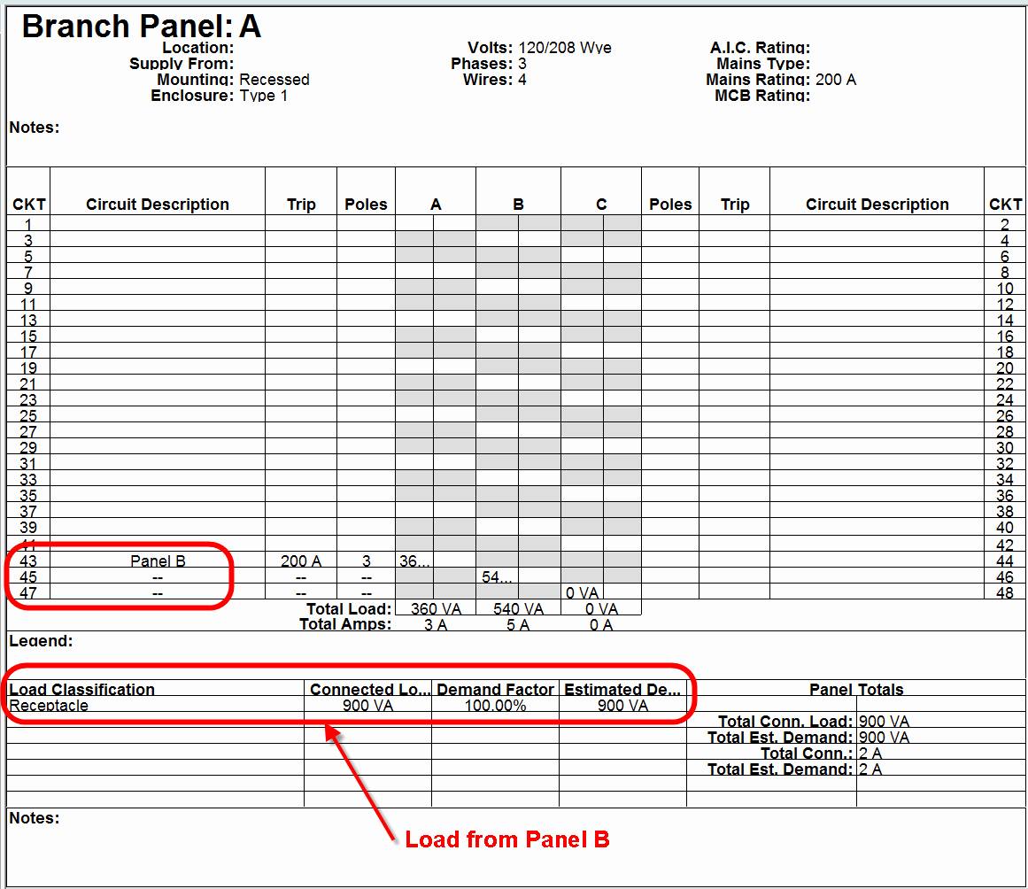 Electrical Panel Schedule Template Fresh Electrical Sub Panels with Lugs In Revit