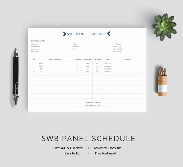 Electrical Panel Schedule Template Pdf Fresh 19 Panel Schedule Templates Doc Pdf