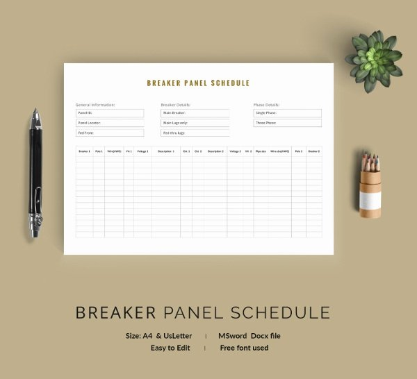 Electrical Panel Schedule Template Pdf Inspirational 19 Panel Schedule Templates Doc Pdf