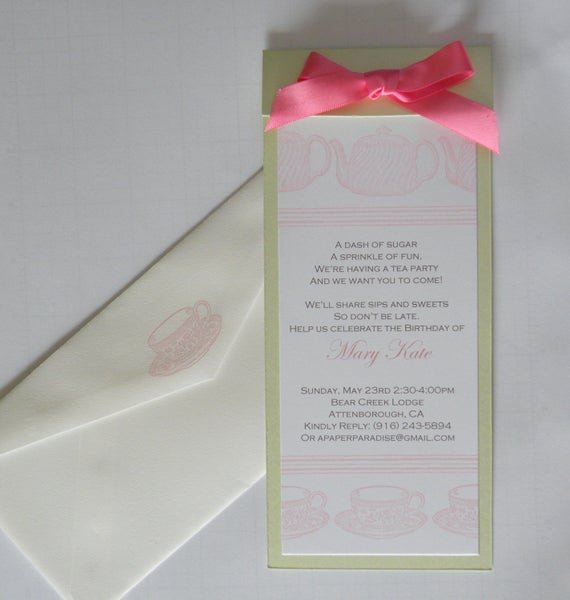 Elegant Tea Party Invitations Awesome 10 Elegant Custom Tea Party Invitations In Pink and Green by A Paper Paradise