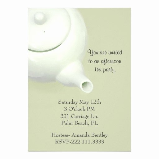 Elegant Tea Party Invitations Beautiful Elegant Green Tea Party Invitation