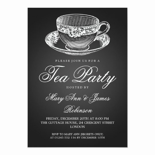 Elegant Tea Party Invitations Beautiful Elegant Tea Party Vintage Tea Cup Black Invitation