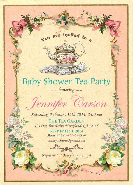 Elegant Tea Party Invitations Beautiful Tea Party Baby Shower Invitations