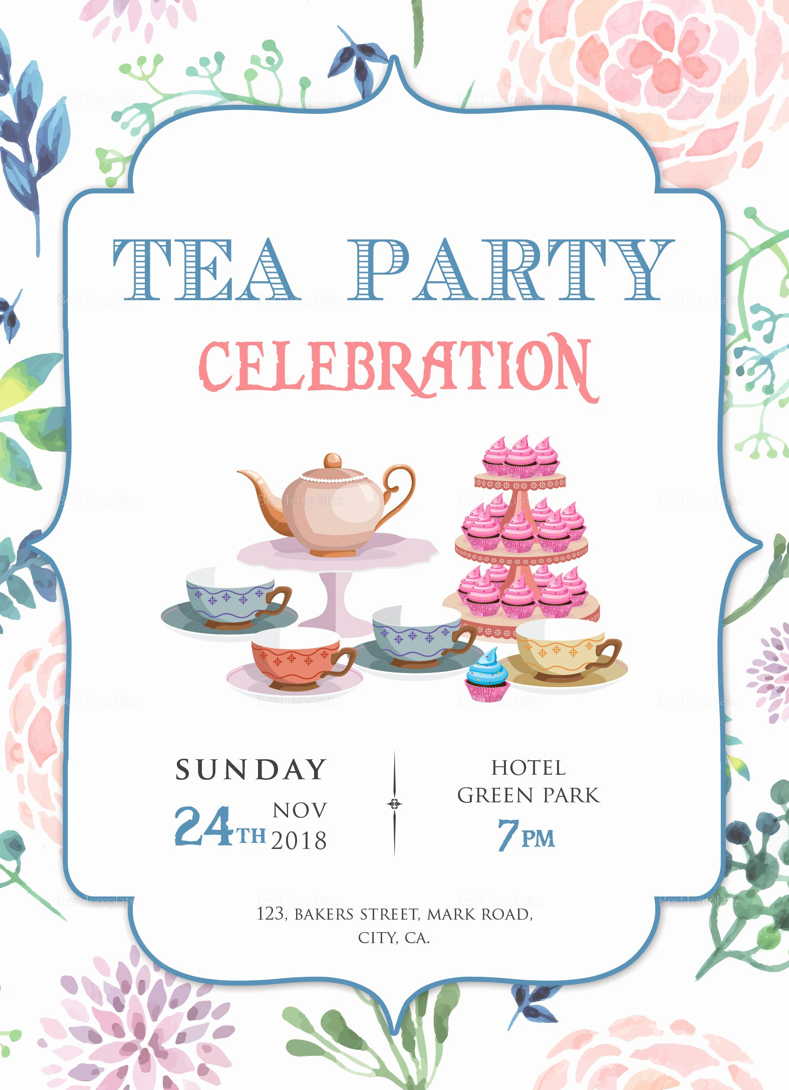 Elegant Tea Party Invitations Best Of Elegant Tea Party Invitation Design Template In Word Psd Publisher