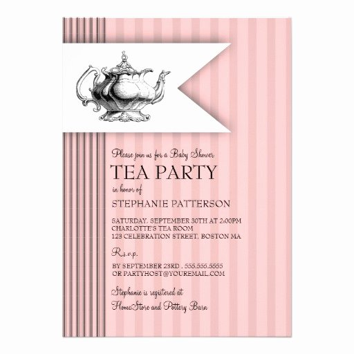 Elegant Tea Party Invitations Best Of Elegant Tea Ticking Stripe Baby Shower Tea Party 5x7 Paper Invitation Card