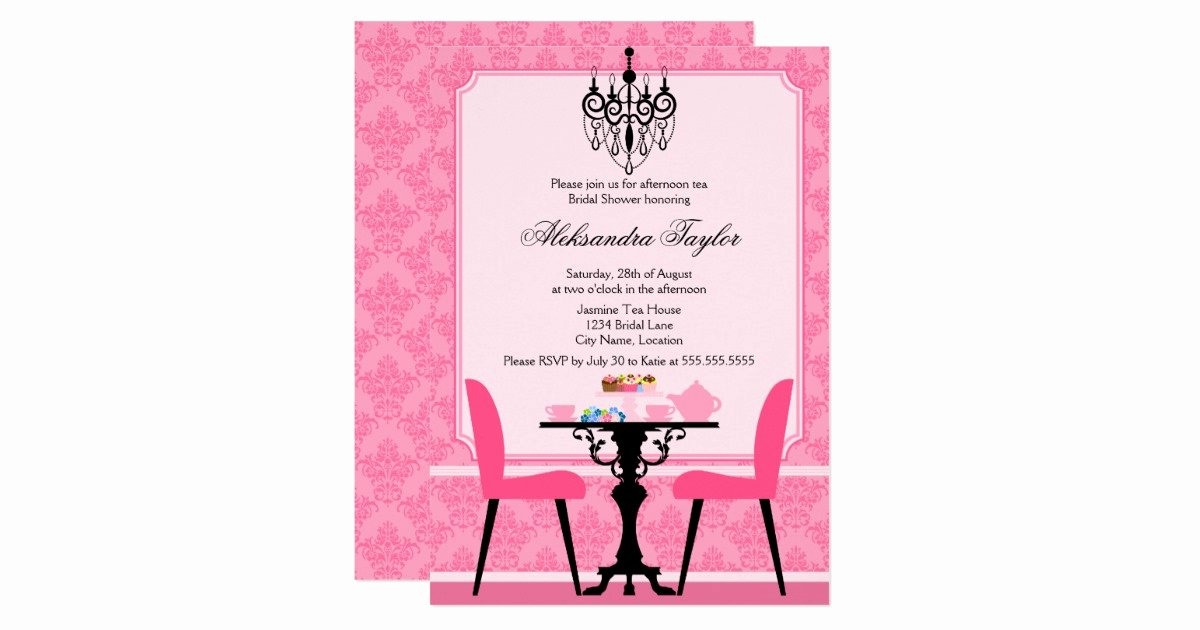 Elegant Tea Party Invitations Fresh Elegant Damask and Chandelier Tea Party Invitation