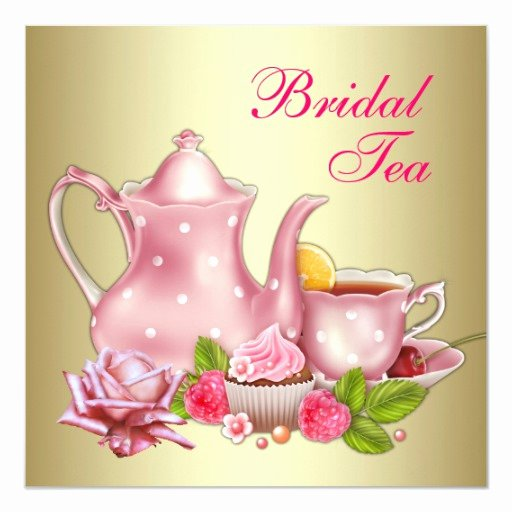 Elegant Tea Party Invitations Fresh Elegant Gold Pink Bridal Tea Party Invitation