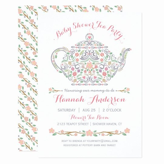Elegant Tea Party Invitations Fresh Elegant Tea Party Girl Baby Shower • Teapot Invitation