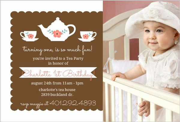 Elegant Tea Party Invitations Fresh Floral Elegant Tea Party 1st Birthday Invitation