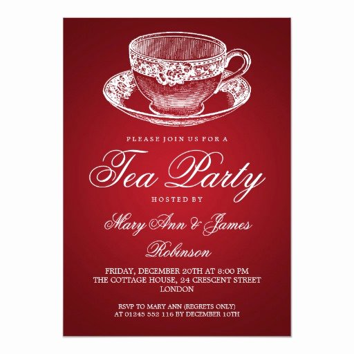Elegant Tea Party Invitations Lovely Elegant Tea Party Vintage Tea Cup Red Card