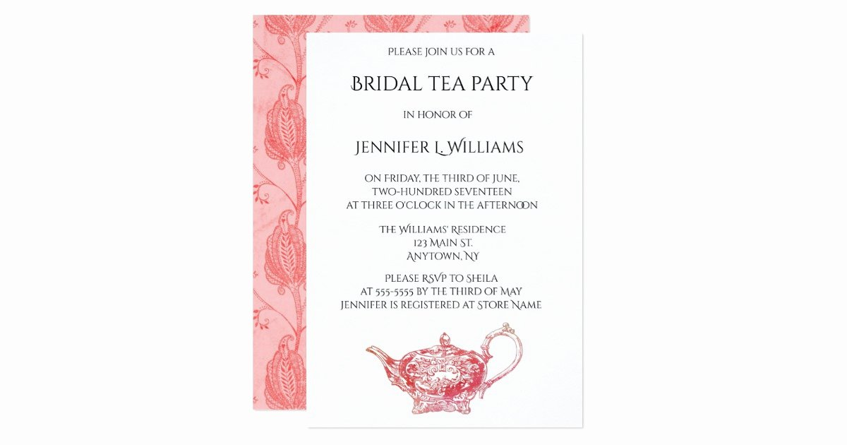 Elegant Tea Party Invitations Luxury Elegant Red Bridal Tea Party Invitations