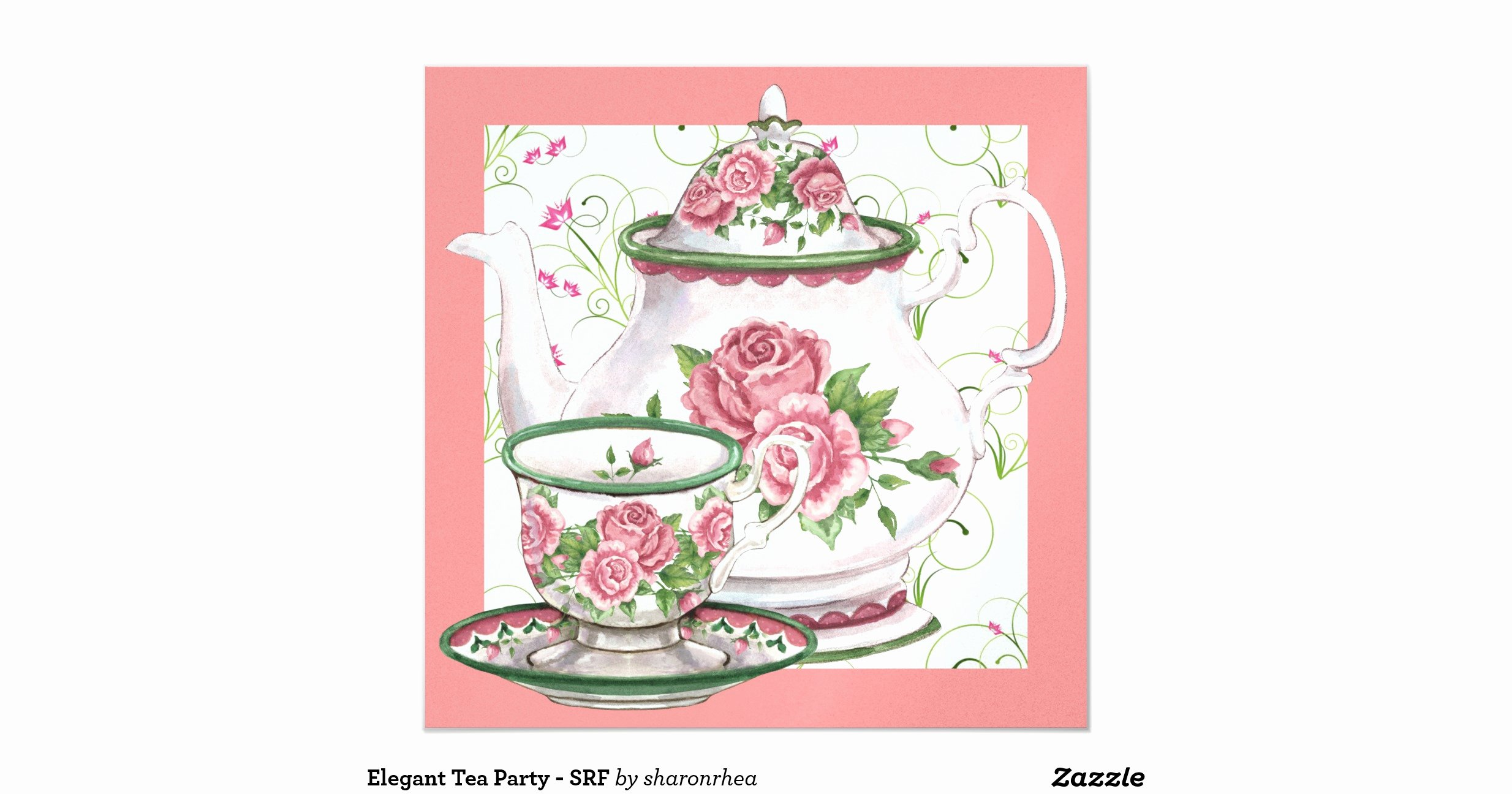 Elegant Tea Party Invitations Luxury Elegant Tea Party Srf 13 Cm X 13 Cm Square Invitation Card