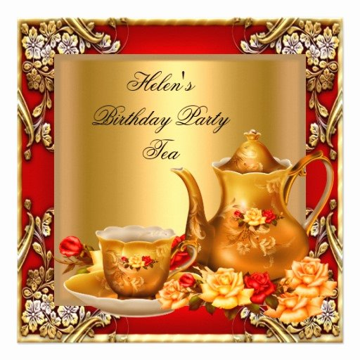 "Elegant Tea Party Invitations New Elegant Birthday Party Tea Red Gold Roses 5 25"" Square Invitation Card"