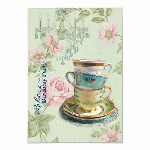 Elegant Tea Party Invitations Unique Elegant Chandelier Tea Cup Vintage Birthday Party 3 5x5 Paper Invitation Card