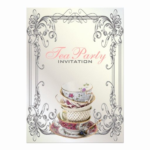 Elegant Tea Party Invitations Unique formal Elegant Swirls White Vintage Tea Party 5x7 Paper Invitation Card