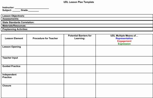 Elementary Art Lesson Plan Template Awesome Art Udl Lesson Plan format Google Search