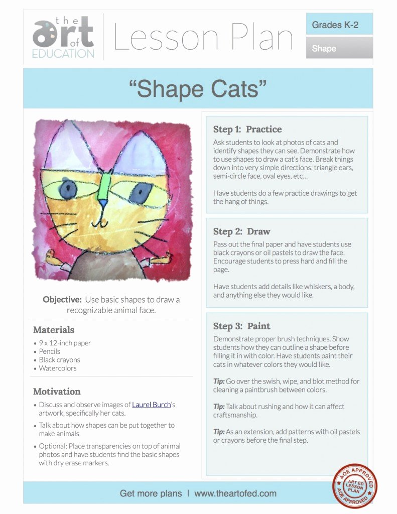 Elementary Art Lesson Plan Template Beautiful Shape Cats Free Lesson Plan Download the Art Of Ed