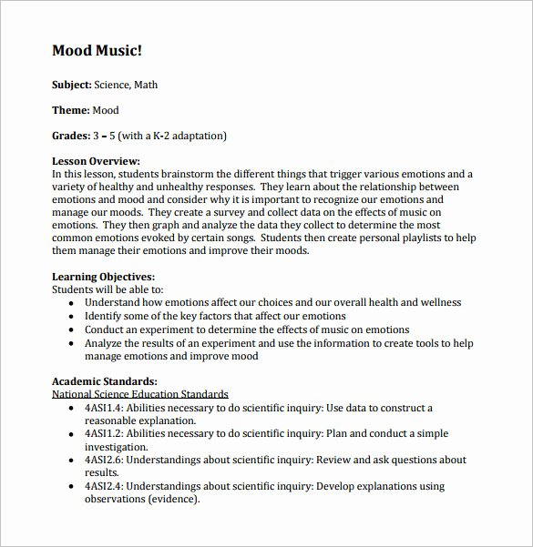 Elementary Music Lesson Plan Template Fresh Music Lesson Plan Template 8 Free Pdf Word format