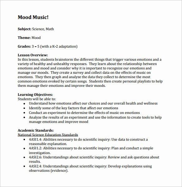 Elementary Music Lesson Plan Template Fresh Music Lesson Plan Template 8 Free Pdf Word format