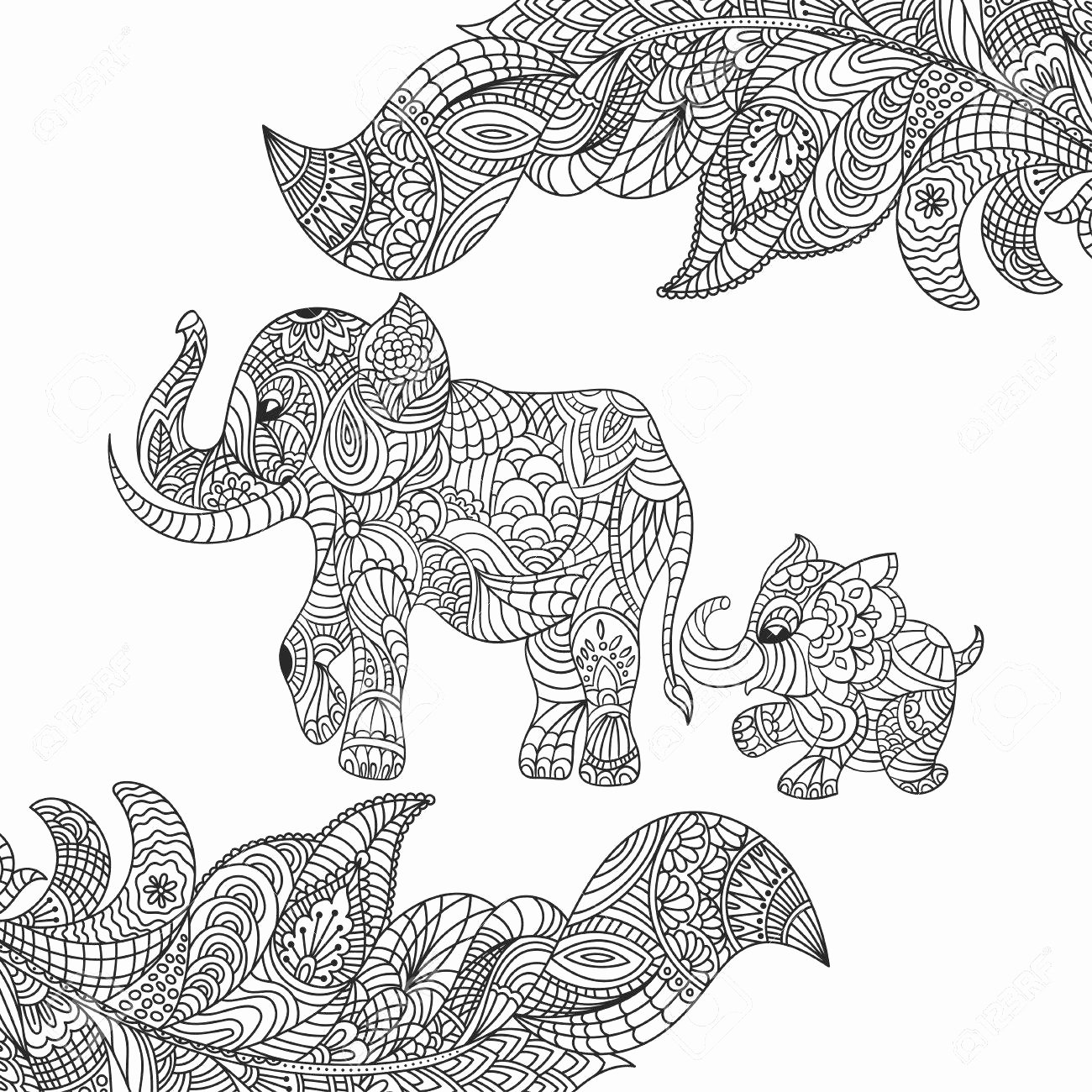 elephant mandala coloring pages