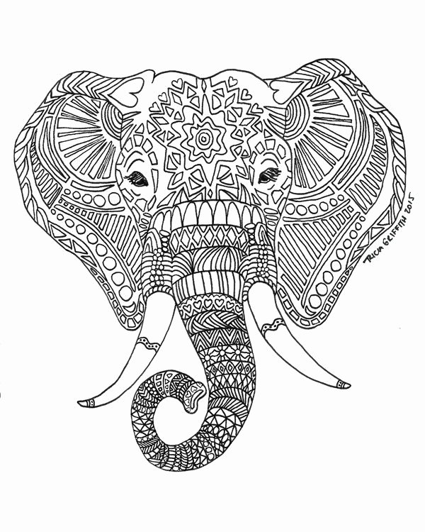 "Elephant Mandala Coloring Pages Lovely Printable Zen Critters ""sun Elephant"" Coloring Page Coloring for Adults by Triciagriffitharts"
