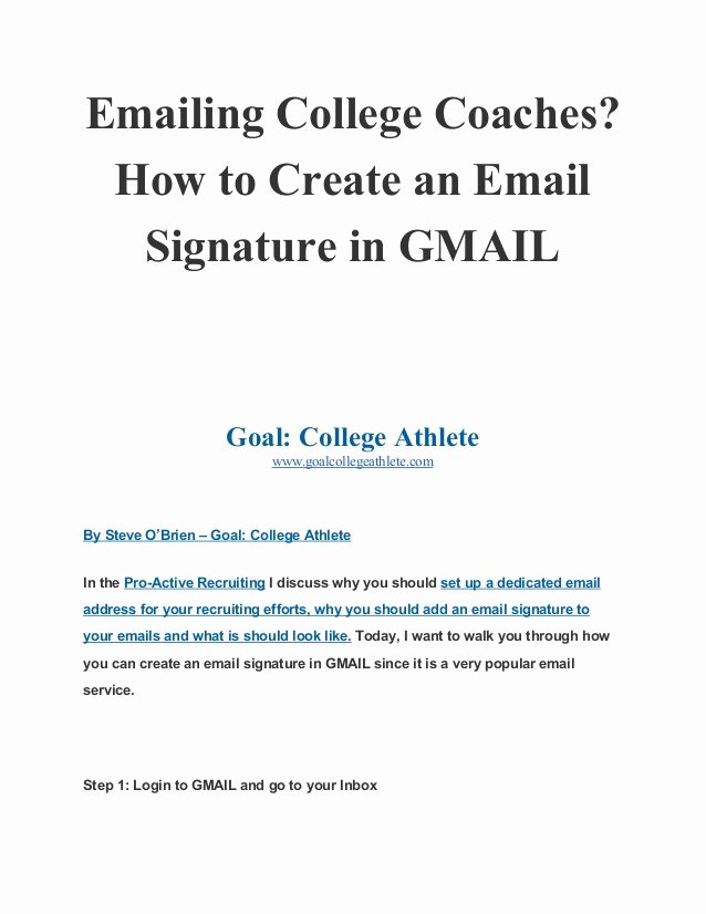 Email Signature for College Student Awesome Emailing College Coaches How to Create An Email Signature In Gmail