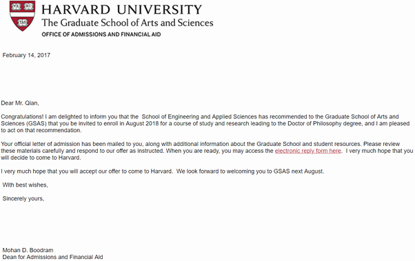 Email Signature for Graduate Student Beautiful What Does A Harvard Letter Of Acceptance to Graduate School Look Like Quora