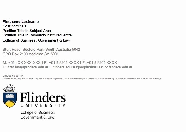 Email Signature for Undergraduate Student Inspirational Guidelines Flinders University