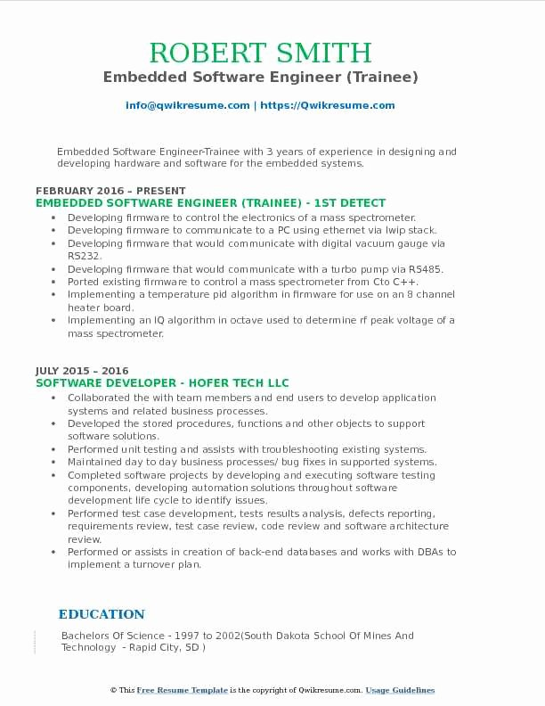 Embedded software Engineer Resume Best Of Embedded software Engineer Resume Samples