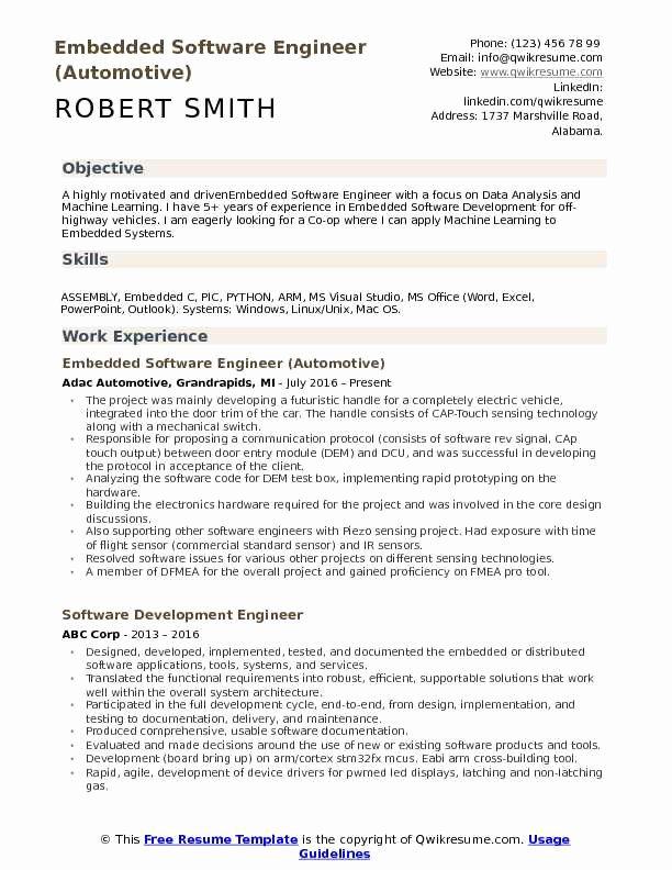 Embedded software Engineer Resume Elegant Embedded software Engineer Resume Samples