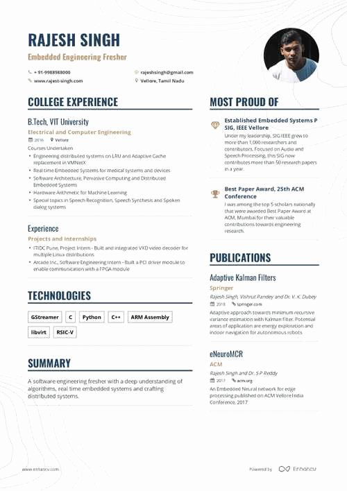 Embedded software Engineer Resume Lovely the Best 2019 Fresher Resume formats and Samples