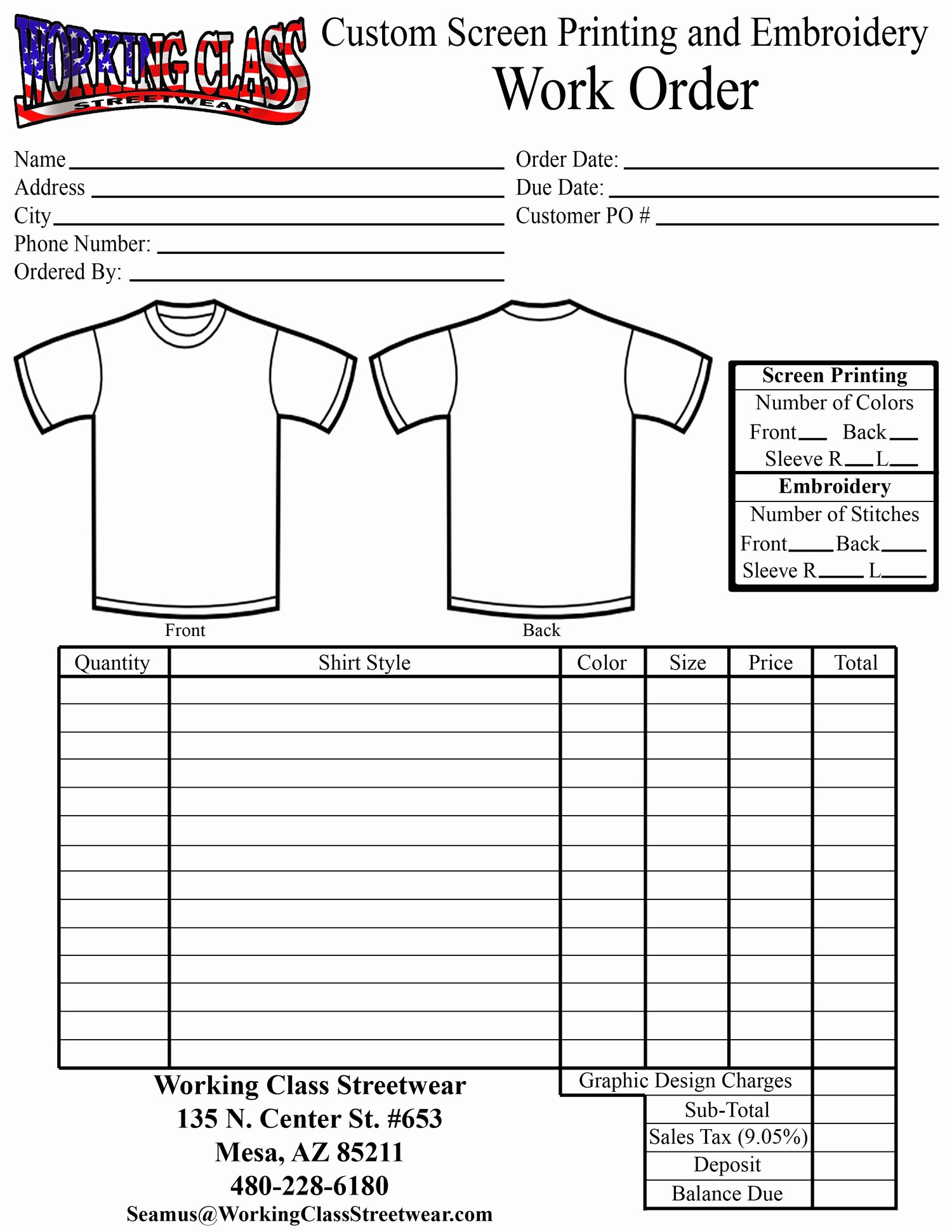 Embroidery order form Template New Embroidery Work order form Template