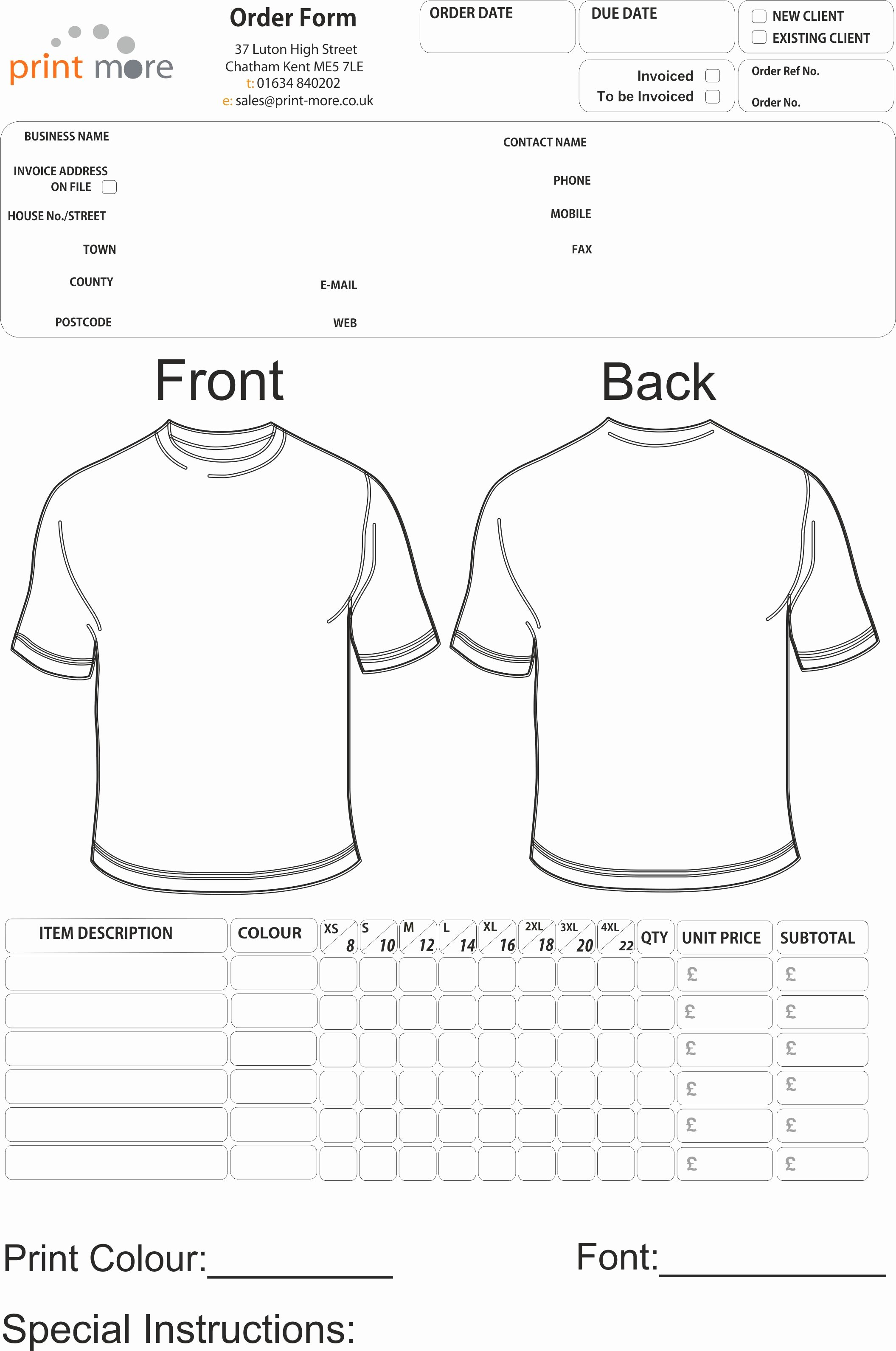 Embroidery order form Template New T Shirt order form Template