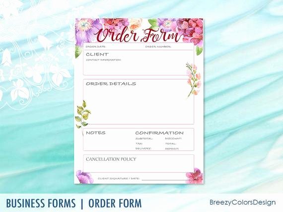 Embroidery order form Template New Watercolor order form Templates Simple Sales Book Craft